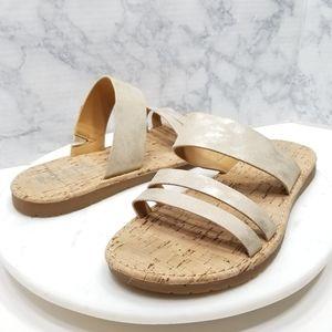 Korks 7 Brushed Gold metallic Strappy Slide Sandal